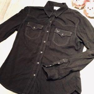TRUE RELIGION Black Long Sleeve Shirt- Western